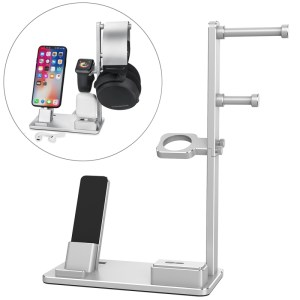 6 in 1 Aluminum Alloy Charging Dock Stand Holder Station for Headphones AirPods iPad Apple Watch iPhone(Silver)