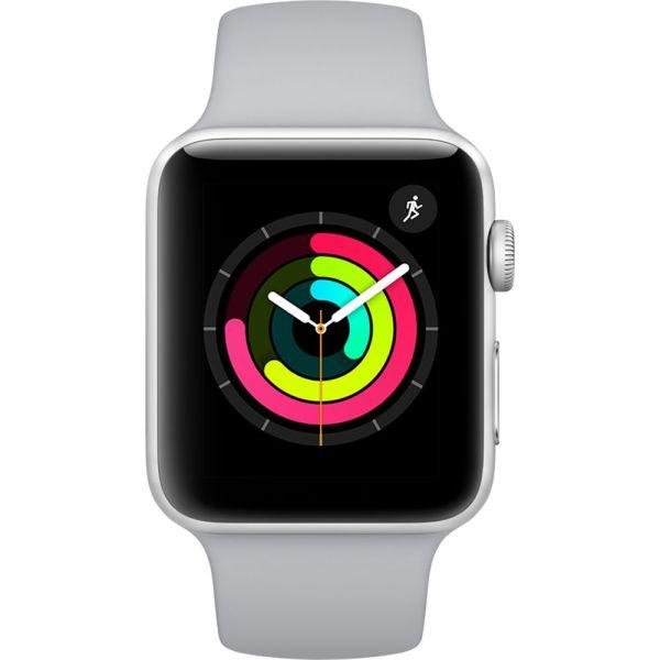 Apple Watch Series 3 42mm Kast van Zilverkleurig Aluminium + Mistgrijs Sportbandje - MTF22 (MQL02)