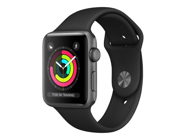 Apple Watch Series 3 42mm Space Grey aluminium - Zwart sportbandje