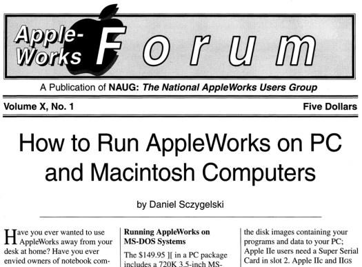 AppleWorks Forum v10n1 front page