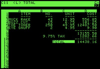 Visicalc screen shot