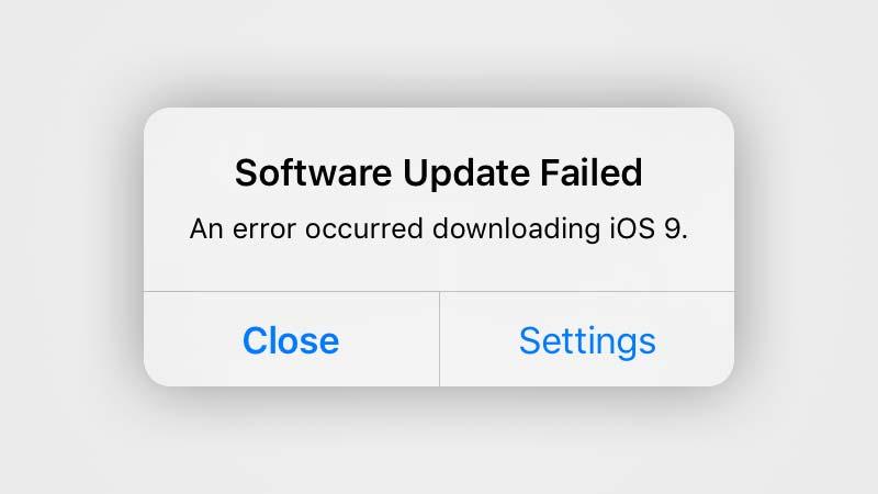 مشكلة Software Update Failed خلال التحديث إلى iOS 9