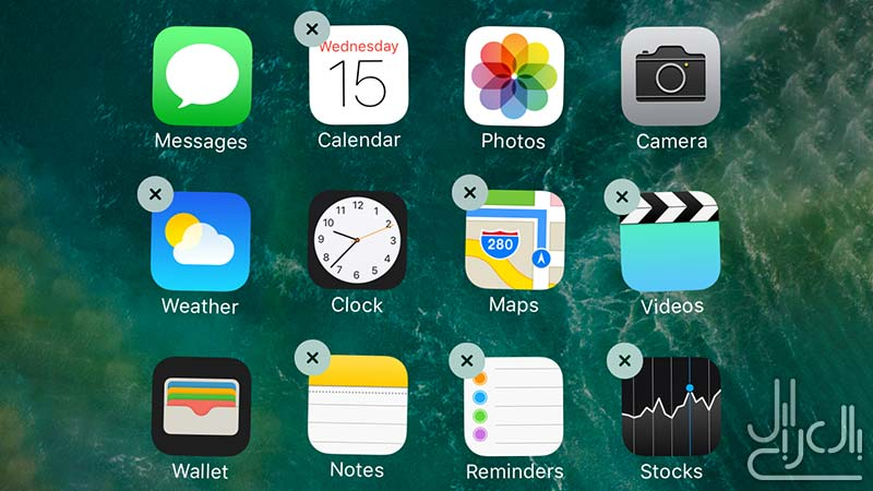 حذف التطبيقات الأساسية في iOS 10