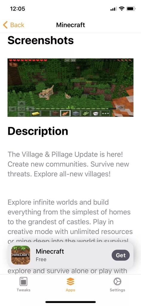 Minecraft free iOS 12 download