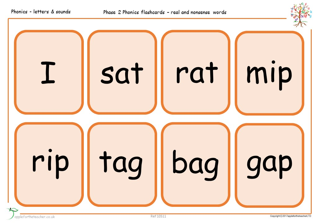 Phonics Flashcards Real Amp Nonsense Words Apple For The