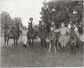 Sue on Nellie, Maggie, Ann on Ted, Grace on Lady, Rica on Lightning, Ted, Barb on Skippy, 1947