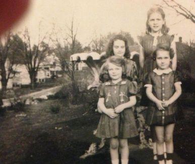 Front: Betty Buchanan and Ann, Back: Margaret Robb Jones and Jo Ann Keller, Corydon, 1937