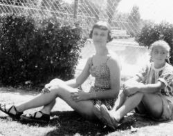Ann and Grace, 1950, Monahans swimming pool
