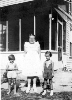 Ann on right, Laura Etta Sibert in center, on farm of Lowell and Mabel Sibert