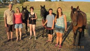 Bill, Nancy, Makenna, Landon, Chloe with Harry, Passion and Maddie, July 2013