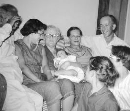 Bobbie holding baby Pete, 1955