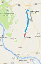 10 miles from Corydon to Central, location of Applegate-Pitman Cemetery