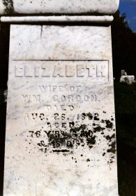 Elizabeth Kelly Gordon (1784-1852) headstone