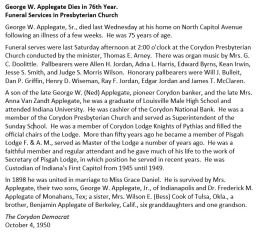 George W. Applegate (1875-1950) obituary