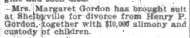 Margaret Gordon files for divorce, Jan 1899