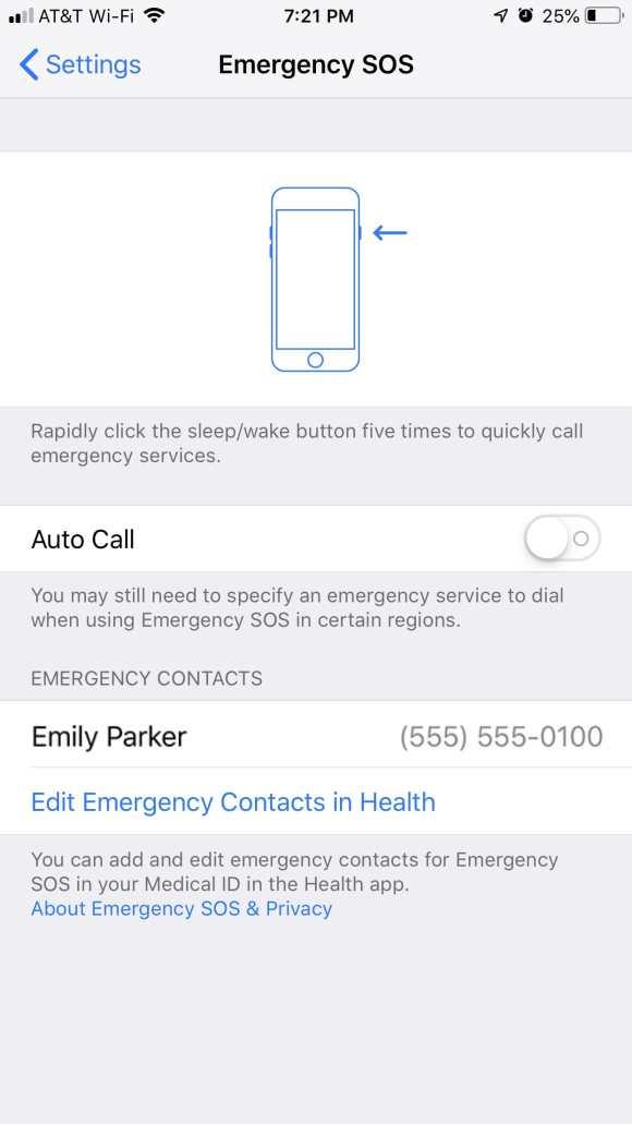 iPhone 7 and earlier Emergency SOS Settings