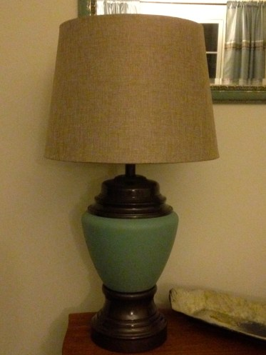 new old lamp, linen shade