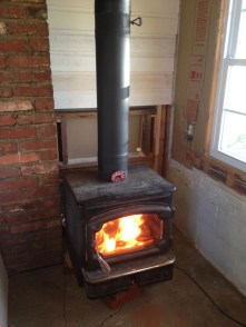 First fire in the old wood stove