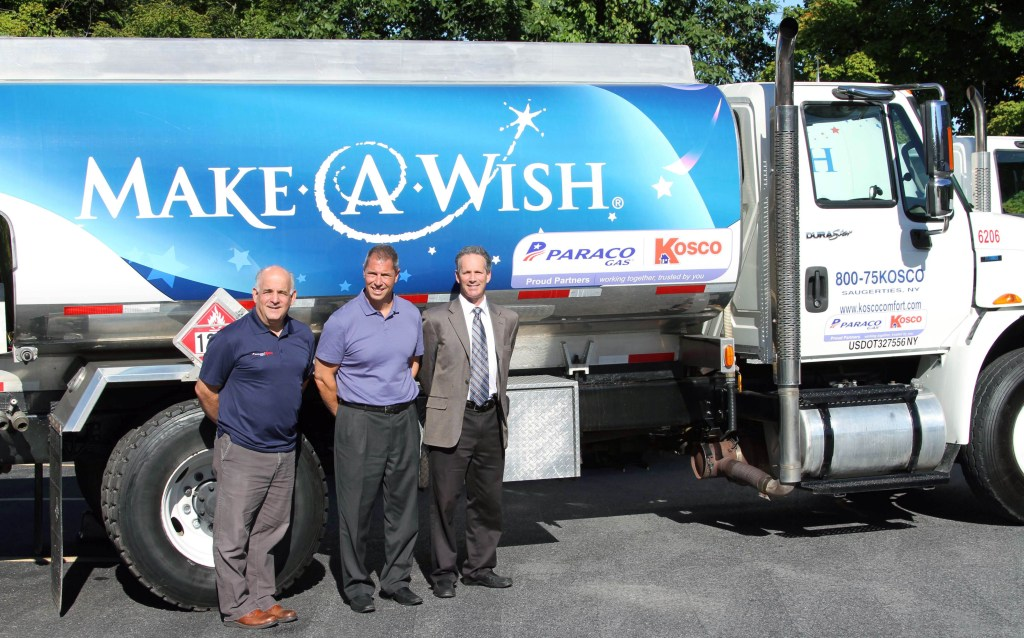 Paraco Kosco - Oil Truck Left to right: Mike Berardi, Dutchess County Manager, Paraco-Kosco, John Armentano, Vice President of Corporate Development and Acquisitions, Paraco Gas and Barry Motzkin, General Manager, Kosco with the oil truck.