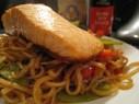 Oriental salmon noodles