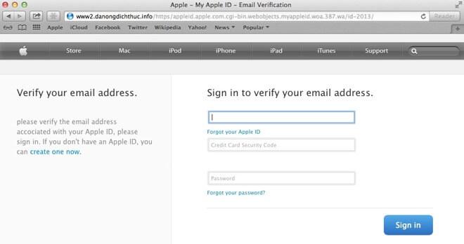 Пример мошеннической фишинг-страницы Apple. Предоставлено: Malwarebytes Lab