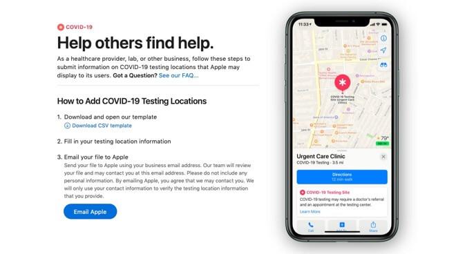 Apple Maps упрощает представление тестовых сайтов COVID-19
