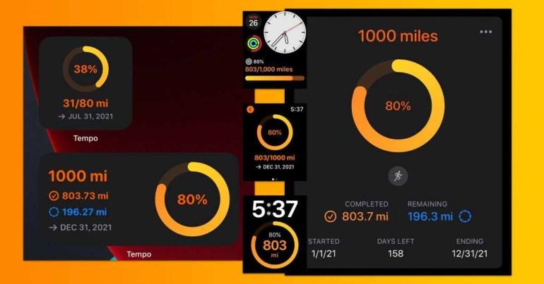 Приложение Tempo Run Log добавляет мотивационную функцию «Цели» для iPhone, Apple Watch и виджетов.