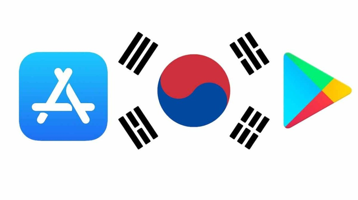 В центре: флаг Южной Кореи.