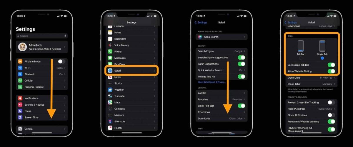 Как изменить адрес / панель поиска Safari iOS 15 на iPhone, пошаговое руководство 3 - откройте приложение «Настройки», проведите пальцем вниз и коснитесь Safari, проведите пальцем вниз и выберите «Одна вкладка»
