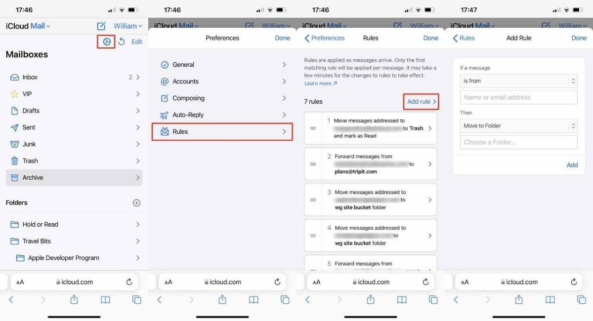 Перейдите на iCloud.com на своем iPhone, и вы сможете настроить более эффективные правила для почты.