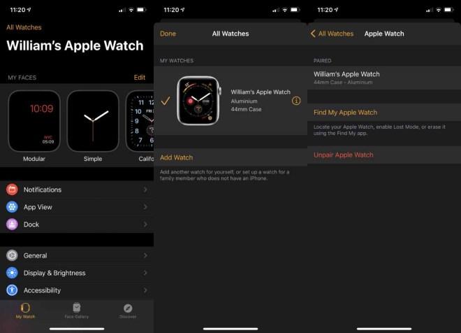 Обязательно отключите Apple Watch от старого устройства.