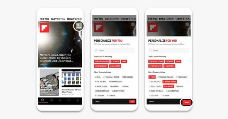 Flipboard теперь позволяет пользователям выбирать темы, отображаемые в ленте новостей.
