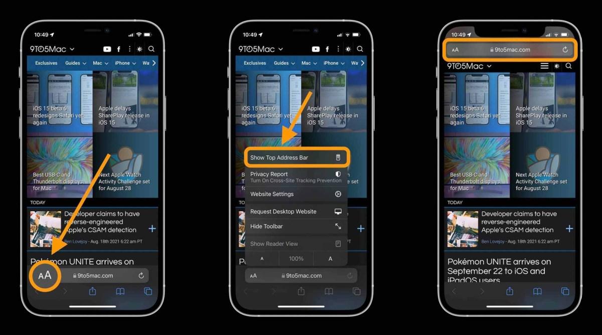 Как сделать изменить адрес / строку поиска в Safari iOS 15 на iPhone, пошаговое руководство 1 - коснитесь значка A в нижнем левом углу в строке адреса / поиска и коснитесь «Показать верхнюю адресную строку»