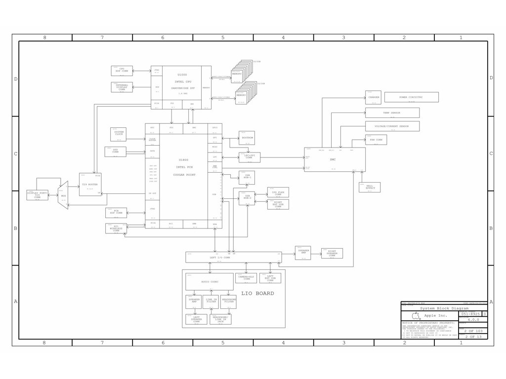 Apple Macbook Air A Lio Board Schematic 820