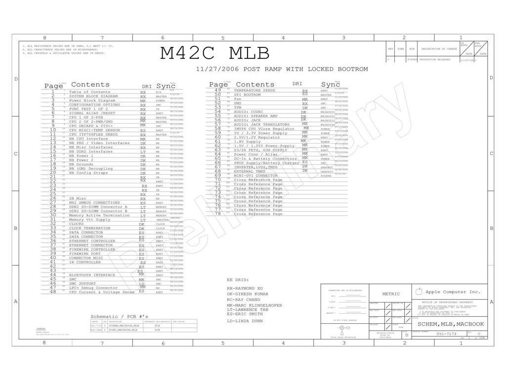 Apple Macbook Fa255 Schematic M42c Mlb P N 820