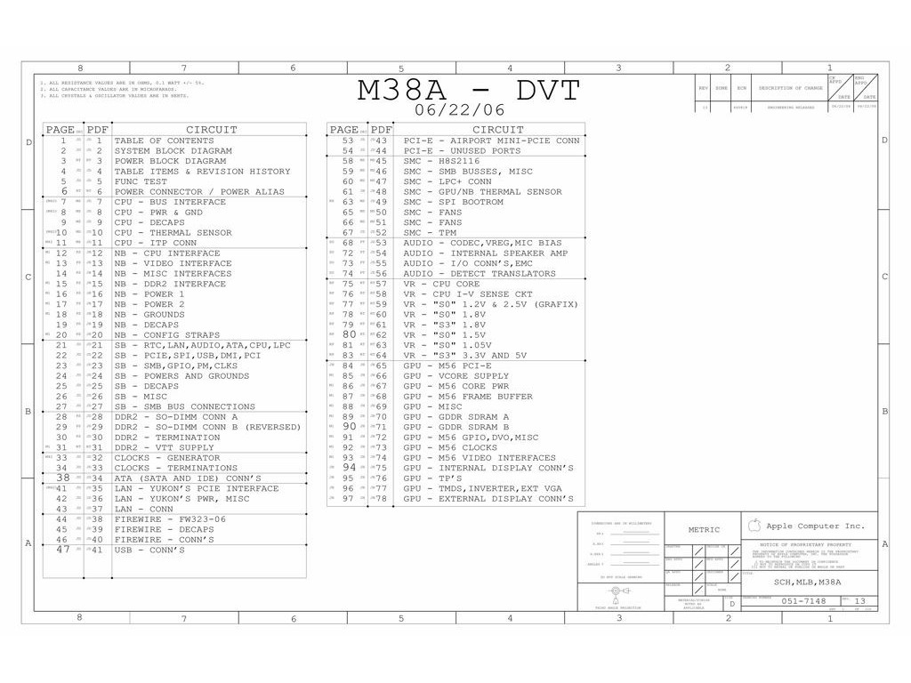 Apple Imac G5 17 Logic Board Schematic M38a Dvt Apple