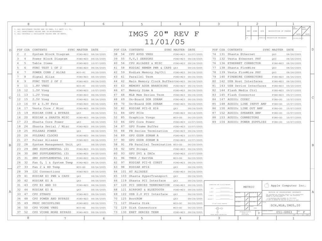 Apple Imac G5 20 Schematic Img5 20 Rev F Sch Mlb