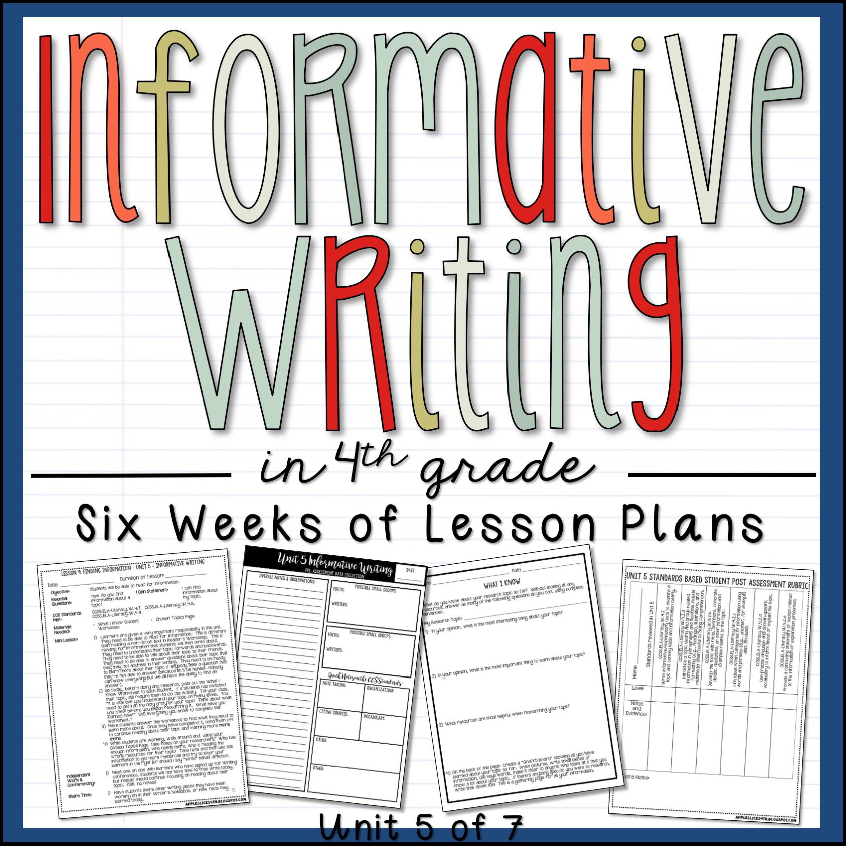 Informative Writing Expository Writing 4th Grade Unit and Sample