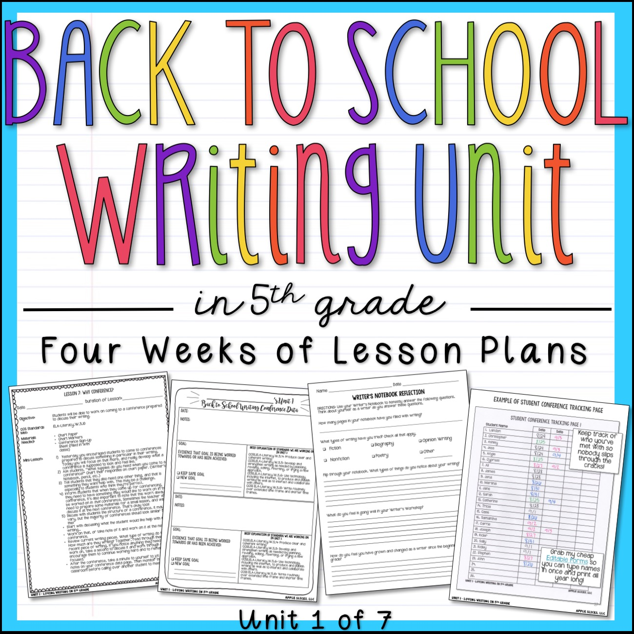 Back to School 5th Grade Writing Units
