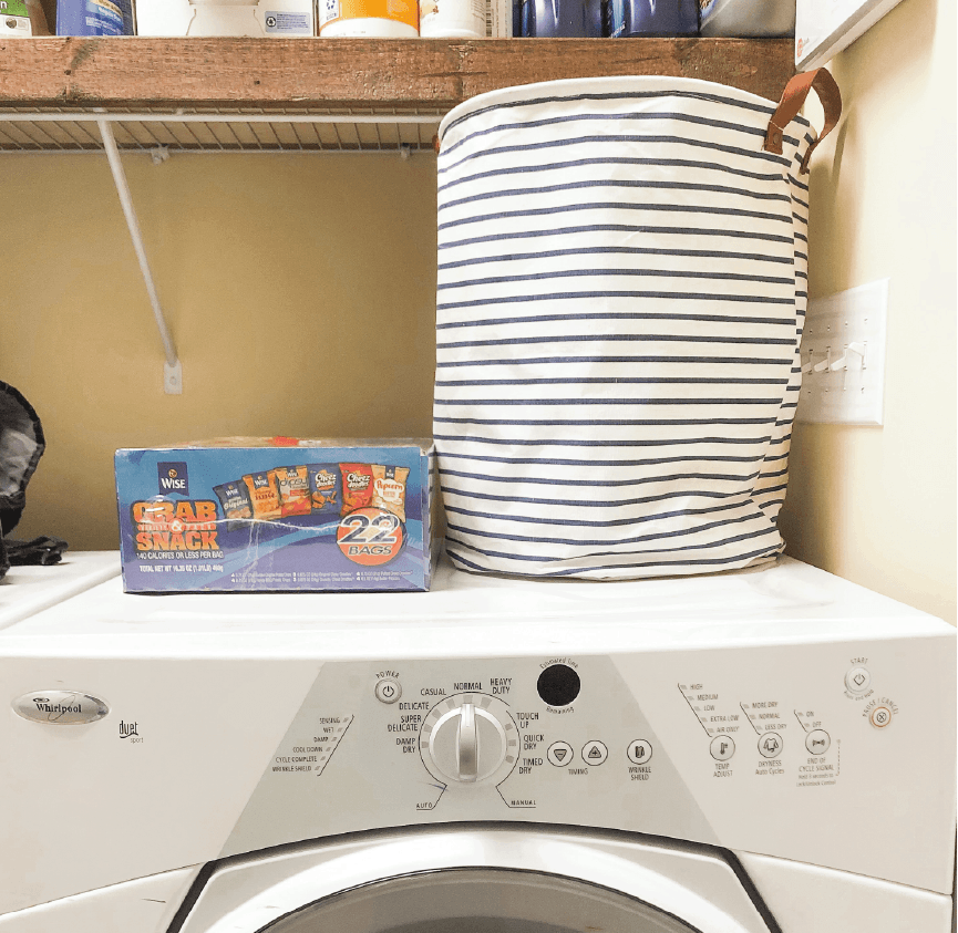 Landry hamper full of microfiber cloths so you can stop using paper towels in the kitchen and home