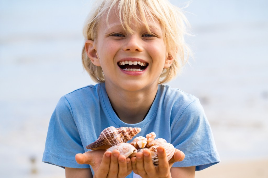 Happy, smiling child holding collection of shells at the beach