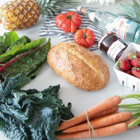 Fresh fruits and veggies from a grocery order placed online