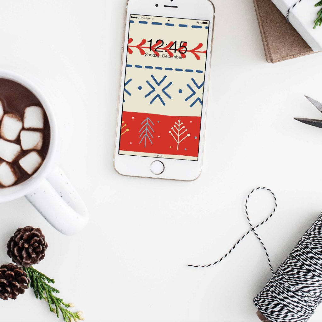 Ugly Christmas Sweater phone screen. These free festive winter holiday phone screens are the perfect addition to your phone this holiday season!