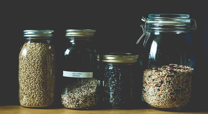 Photo of dried beans in glass jars