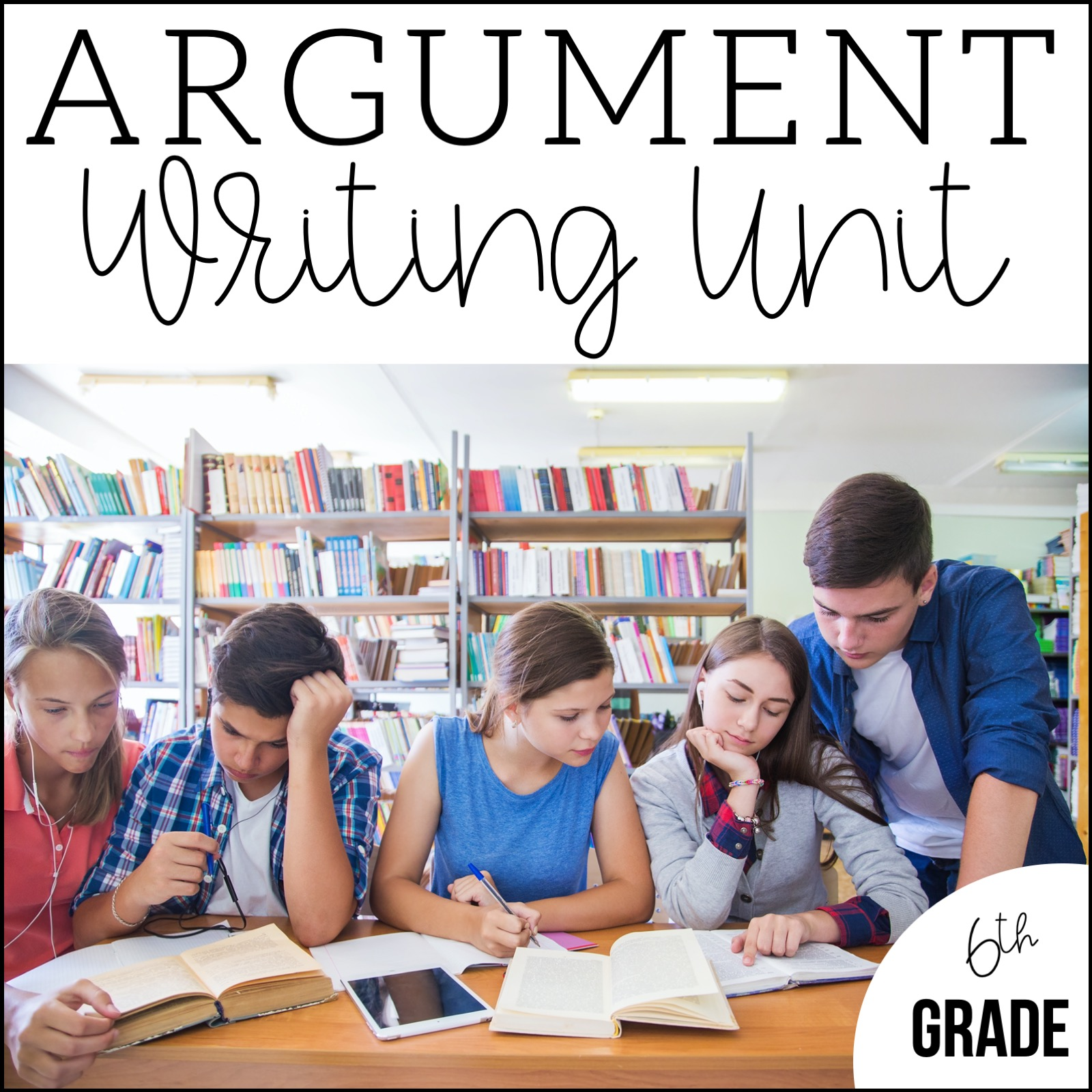 Students working together on research for the argument writing unit