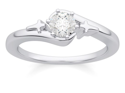 Christian Cross Diamond Solitaire Engagement Ring