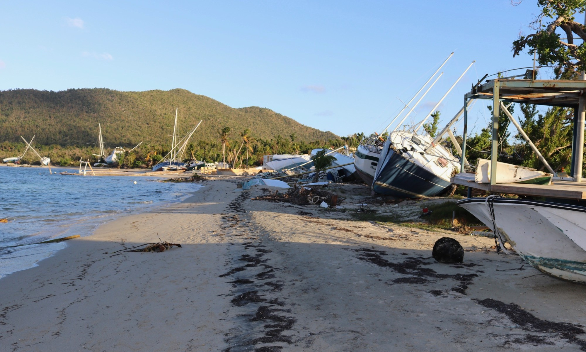 Hurricane Irma destroys boats in Trellis Bay Tortola