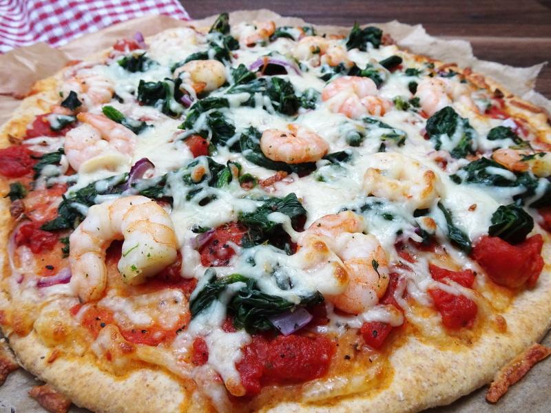 Schnelle Pizza ohne Hefe mit Garnelen