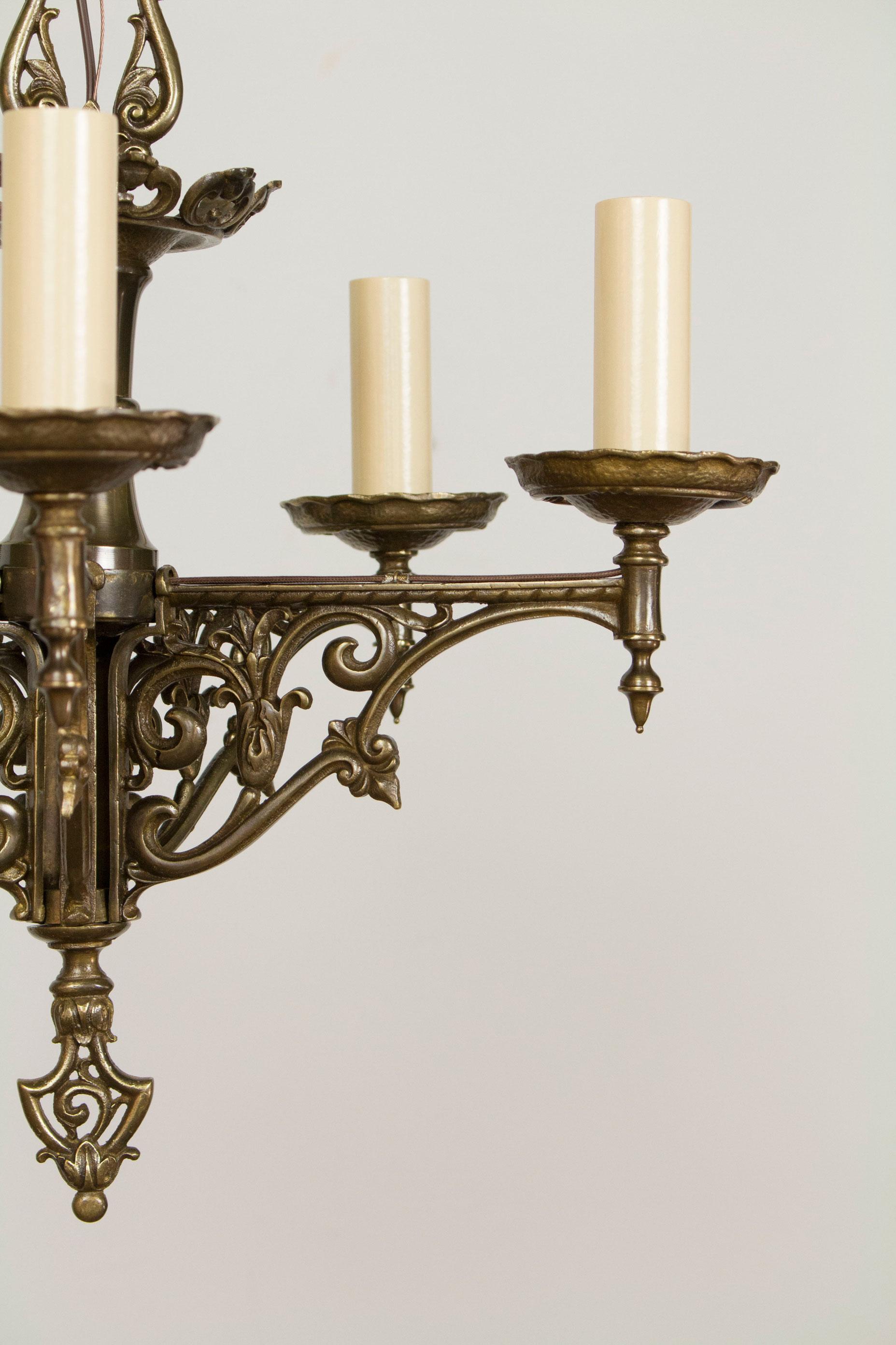 Five Light Antique Brass Tudor Chandelier Appleton