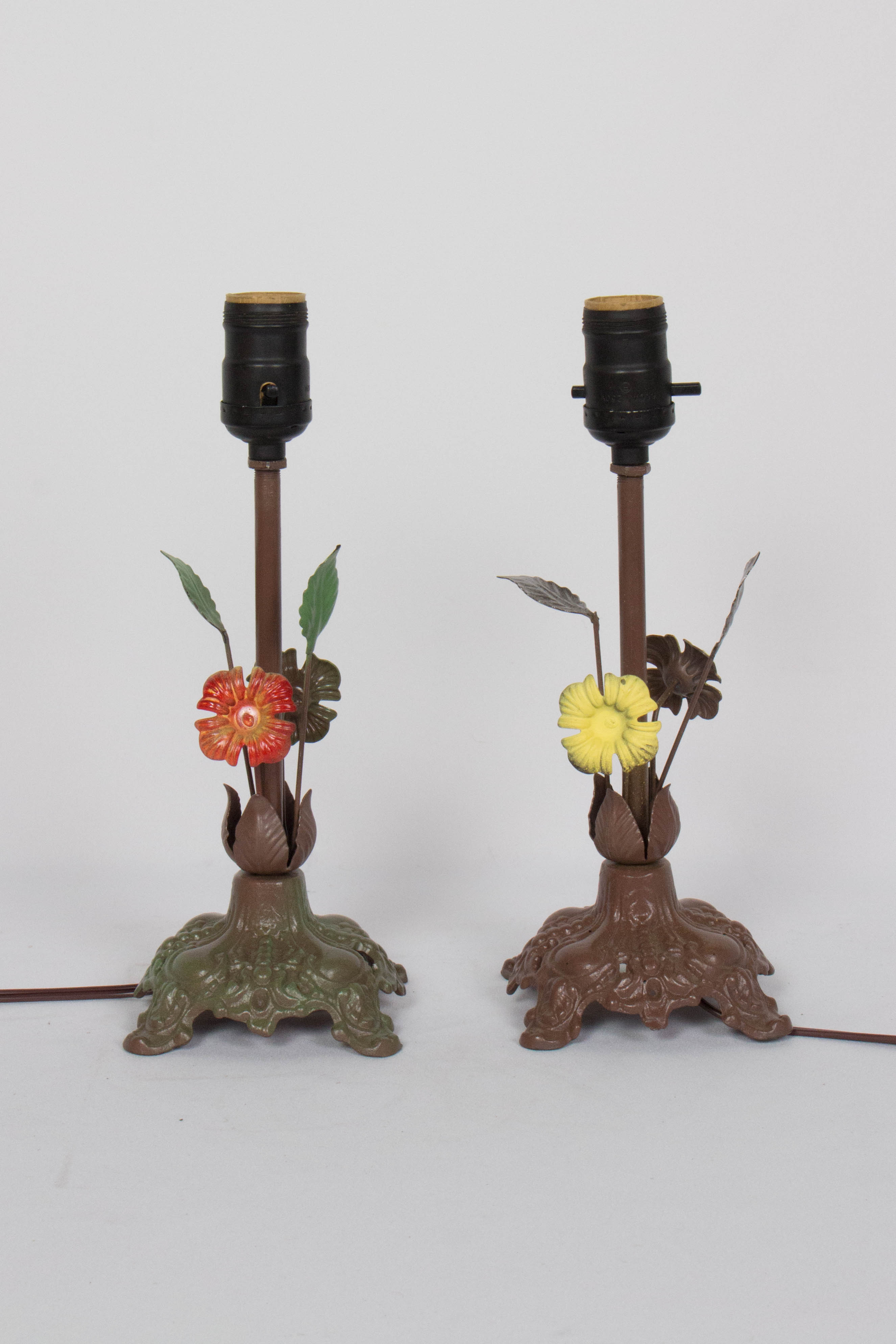 Pair Mismatched Painted Floral Table Lamps
